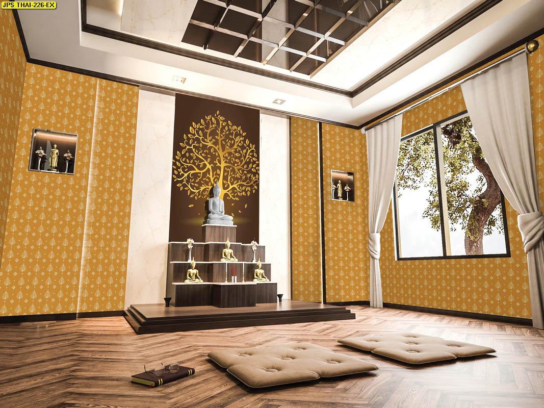 วอลเปเปอร์ลายต้นโพธิ์สีทอง พื้นหลังสีน้ำตาล