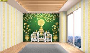 วอลเปเปอร์ ลายดอกบัวในกระถาง ใต้ต้นโพธิ์สีทอง คืนพระจันทร์เต็มดวง พื้นหลังสีเขียว