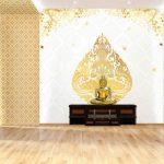 วอลเปเปอร์สั่งทำผ้าแคนวาส ลายเทพพนมสีทอง ใต้ต้นโพธิ์ทอง พื้นหลังสีขาว