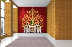 วอลเปเปอร์สั่งพิมพ์ ลายต้นโพธิ์สีทอง พื้นหลังเป็นลายพระพุทธรูป ลายเจดีย์ สีแดง