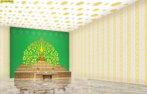 วอลเปเปอร์สั่งพิมพ์ราคาถูก ลายต้นโพธิ์ทอง ขอบบนตกแต่งด้วยลายไทยประจำยาม พื้นหลังสีเขียว