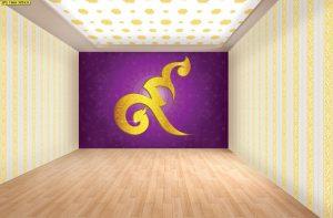 วอลเปเปอร์แบบสั่งพิมพ์ ลายเลขเก้าไทยสีทอง พื้นหลังสีม่วง ตกแต่งห้องพระ ห้องโถง