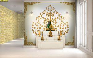 ภาพแคนวาส ลายต้นโพธิ์ทอง ในกรอบลายไทยกนก พื้นหลังสีขาว