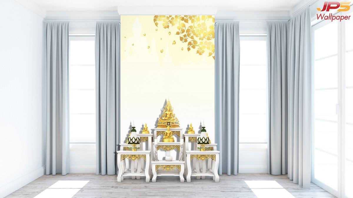 วอลเปเปอร์ลายใบโพธิ์สีทอง ลายพระพุทธรูป เจดีย์ พื้นหลังสีเหลืองอ่อน