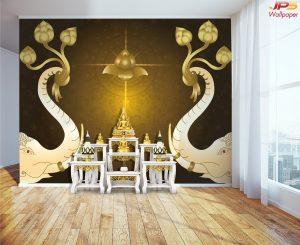Print วอลเปเปอร์ ลายดอกบัวสีทอง ลายช้างคู่ยกงวงชูดอกบัว พื้นหลังสีน้ำตาล