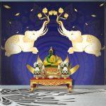 วอลเปเปอร์หมึกกันน้ำลายช้างเผือกคู่ยกงวงชูดอกบัว บนดอกบัวบานสีทองสวยงาม พื้นหลังลายไทยสีน้ำเงิน