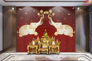 วอลเปเปอร์สั่งทำผ้าแคนวาส ลายช้างเผือกคู่ยกงวงชูดอกบัว พื้นหลังลายไทยสีแดง