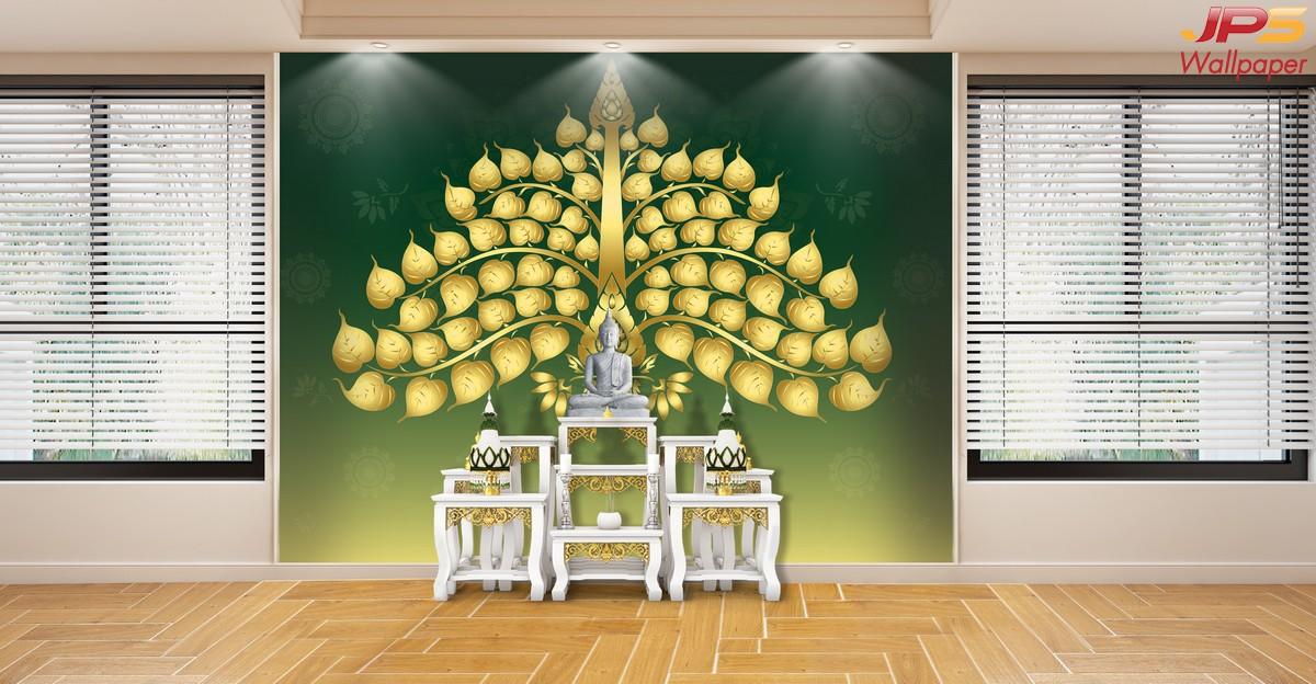 วอลเปเปอร์ลายต้นโพธิ์สีทองแผ่กิ่งใบ สวยงามปราณีต พื้นหลังสีเขียว