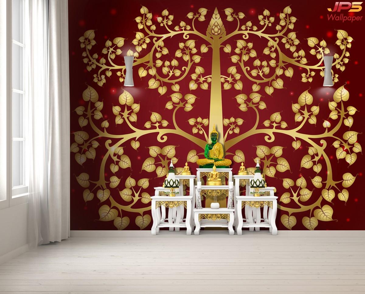 ปริ้นผ้าcanvas ลายต้นโพธิ์ใหญ่สีทอง แผ่กิ่ง แตกใบ เต็มภาพ พื้นหลังสีแดง