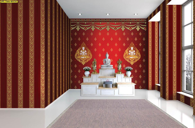 ภาพพิมพ์แคนวาส ลายเทพพนมคู่สีขาวทอง พร้อมลายกนกไทย พื้นหลังสีแดง