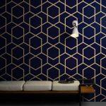 พิมพ์ภาพแคนวาส วอลเปเปอร์ลายเส้นสีทองสไตล์โมเดิร์น พื้นหลังสีน้ำเงิน ตกแต่งผนังบ้าน