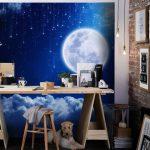 พิมพ์ภาพแคนวาส วอลเปเปอร์ลายพระจันทร์บนท้องฟ้ากลางคืน ตกแต่งห้องทำงาน