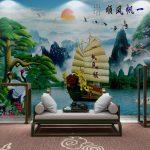 วอลเปเปอร์สั่งทำผ้าแคนวาส ลายเรือสำเภาโบราณในแม่น้ำ ตกแต่งฮวงจุ้ย