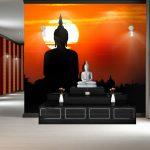 ไอเดียตกแต่งห้องพระ วอลเปเปอร์ลายพระพุทธรูป พื้นหลังท้องฟ้าสีส้ม