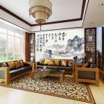 ภาพปริ้นแคนวาส ลายภาพเขียนวิวธรรมชาติสมัยจีนโบราณ พร้อมตัวอักษรจีน แต่งห้องฮวงจุ้ย