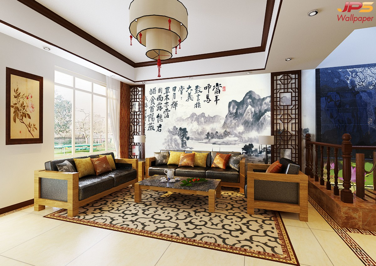 ภาพปริ้นแคนวาส ลายภาพเขียนวิวธรรมชาติสมัยจีนโบราณ พร้อมตัวอักษรจีน