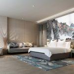 ขายภาพพิมพ์แคนวาส วอลเปเปอร์ลายภาพเขียนวิวธรรมชาติสไตล์จีนโบราณ ตกแต่งห้องนอน