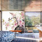 ปริ้นผ้าcanvas ลายภาพเขียนดอกไม้ สไตล์ภาพเขียนพู่กันจีน ตกแต่งห้องนอน