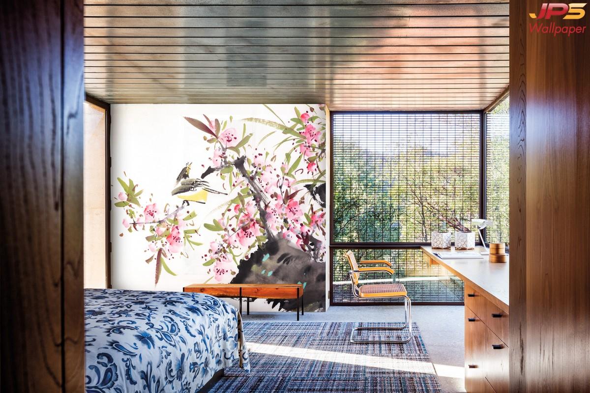 ปริ้นผ้าcanvas ลายภาพเขียนดอกไม้ สไตล์ภาพเขียนพู่กันจีน