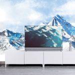 ภาพพิมพ์เสริมมงคล วอลเปเปอร์ลายภาพวาดภูเขาหิมะสีฟ้า แต่งห้องฮวงจุ้ย