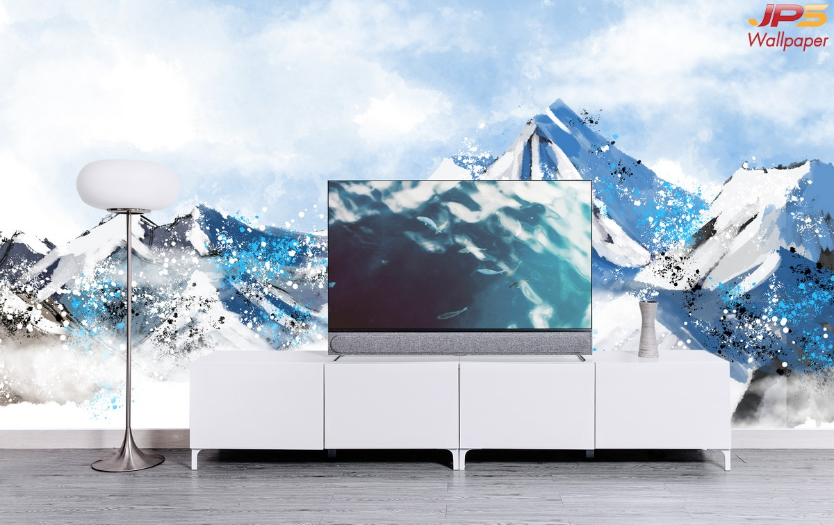 ภาพพิมพ์เสริมมงคล วอลเปเปอร์ลายภาพวาดภูเขาหิมะสีฟ้า