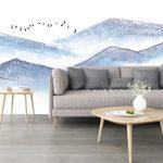 ภาพพิมพ์ฮวงจุ้ย ลายภาพวาดทิวทัศน์ภูเขาสีฟ้า ตกแต่งผนังบ้าน