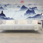 วอลเปเปอร์พิมพ์ลงบนผ้า ลายภาพเขียนวิวธรรมชาติสีน้ำเงิน สไตล์พู่กันจีน ตกแต่งห้องนั่งเล่น