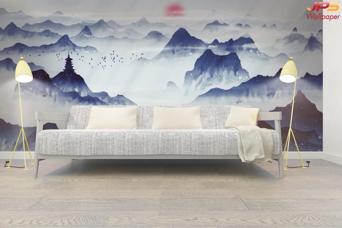 วอลเปเปอร์พิมพ์ลงบนผ้า ลายภาพเขียนวิวธรรมชาติสีน้ำเงิน สไตล์พู่กันจีน