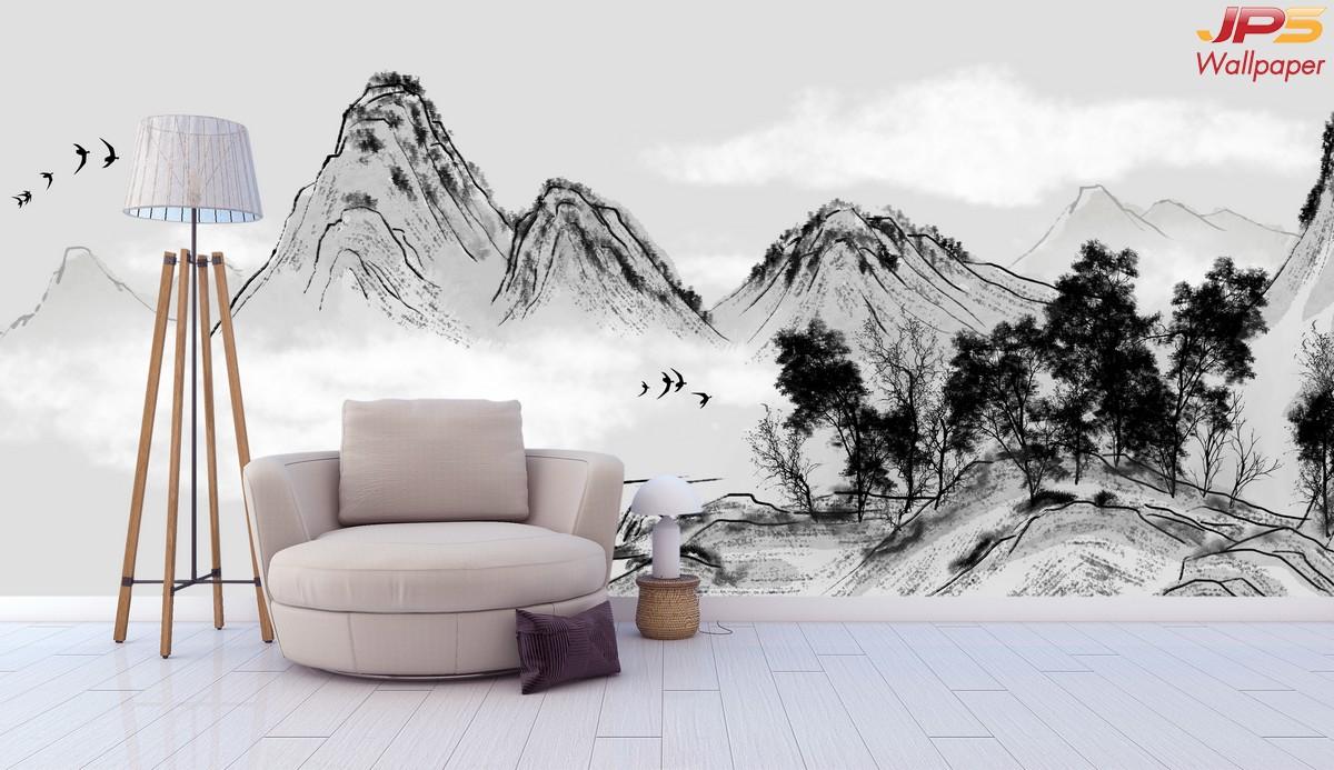 ทางร้านรับทำวอลเปเปอร์สั่งพิมพ์ ลายภาพวาดภูเขาสไตล์จีนโบราณ