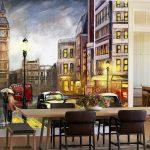 Print วอลเปเปอร์ ลายภาพเขียนสีน้ำมันถนนกรุงลอนดอน ตกแต่งผนังห้อง