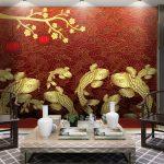 ภาพมงคลติดห้อง วอลเปเปอร์ปลาคราฟทอง พื้นหลังสีแดง ตกแต่งฮวงจุ้ย