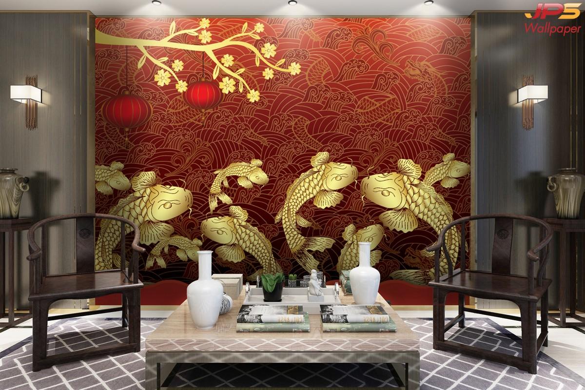 ภาพมงคลติดห้อง วอลเปเปอร์ปลาคราฟทอง พื้นหลังสีแดง