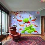 ปริ้นรูปผ้าแคนวาส วอลเปเปอร์ลายปลาคราฟ ว่ายเข้าหาดอกบัว ตกแต่งห้องฮวงจุ้ย