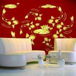 ภาพพิมพ์เสริมมงคล วอลเปเปอร์ลายภาพปลาคราฟสีทอง พื้นหลังสีแดง ตกแต่งฮวงจุ้ย