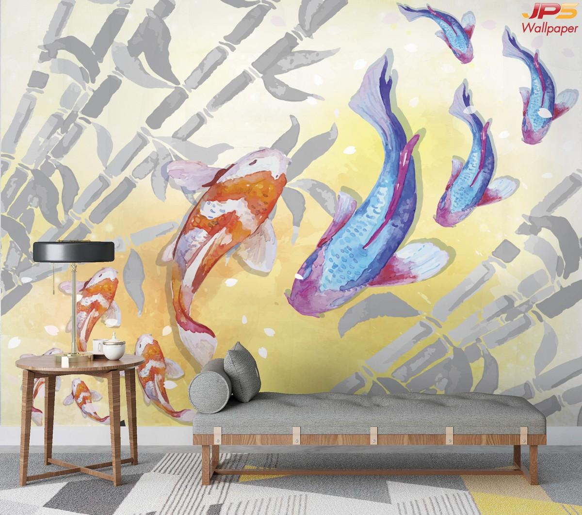 วอลเปเปอร์พิมพ์ลงบนผ้า รูปสั่งพิมพ์ฮวงจุ้ย ลายภาพวาดปลาคราฟ กับต้นไผ่