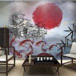 ภาพพิมพ์ฮวงจุ้ย วอลเปเปอร์ลายดวงอาทิตย์สีแดง กับลายปลาคราฟ ตกแต่งผนังบ้าน