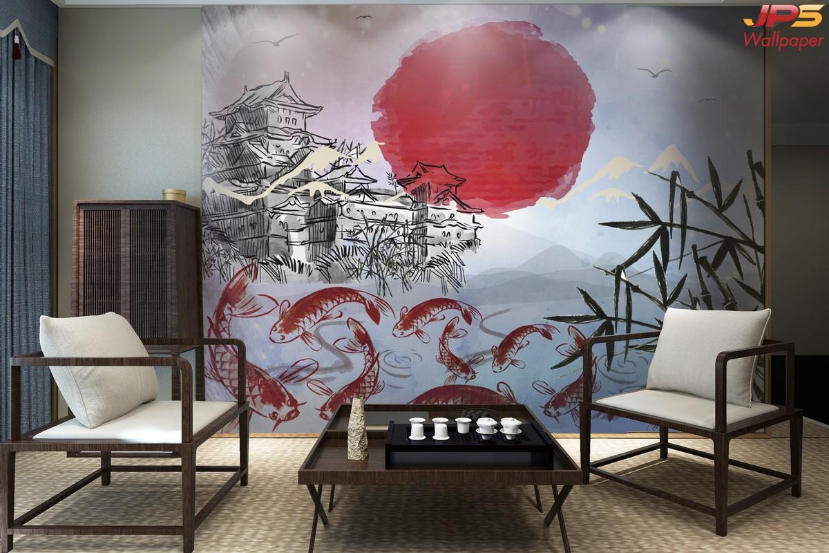 ภาพพิมพ์ฮวงจุ้ย วอลเปเปอร์ลายดวงอาทิตย์สีแดง กับลายปลาคราฟ