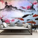 ภาพพิมพ์ฮวงจุ้ย ลายภาพวาดสไตล์จีนโบราณ ลายปลาคราฟ ลายดอกซากุระ และลายจวนเก่า