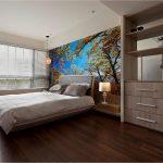 ปริ้นรูปผ้าแคนวาส วอลเปเปอร์ลายภาพถ่ายต้นไม้กับท้องฟ้า ตกแต่งห้องนอน