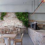 พิมพ์วอลเปเปอร์ ลายอิฐบล็อกเก่า มีต้นไม้ขึ้นตามผนัง ตกแต่งร้านกาแฟ