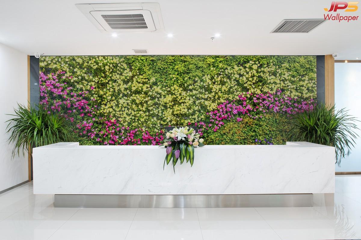 ปริ้นรูปผ้าแคนวาส วอลเปเปอร์ลายสวนดอกไม้