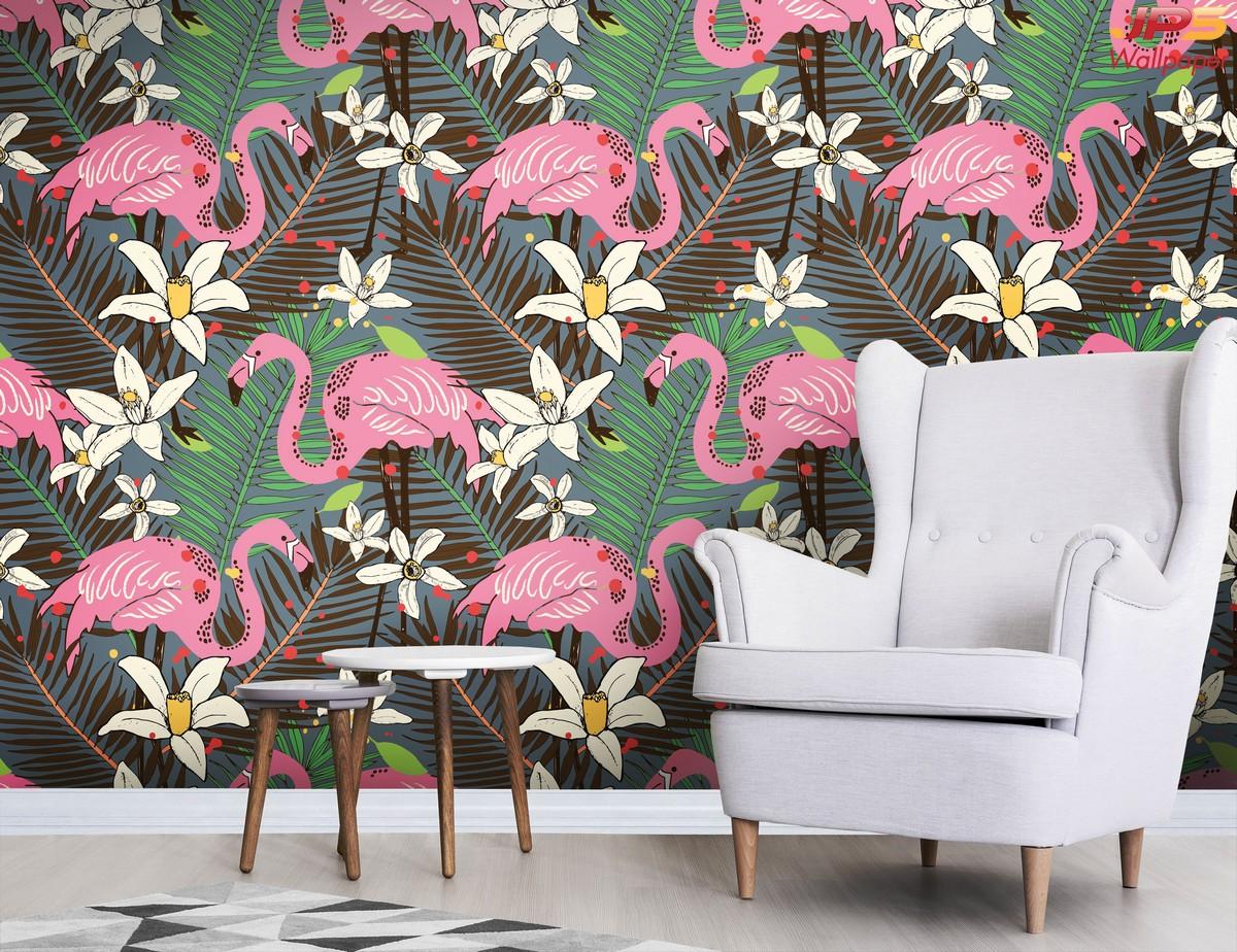 Print Wallpaper ลายภาพการ์ตูนนกฟลามิงโกสีชมพูสไตล์ทรอปิคอล