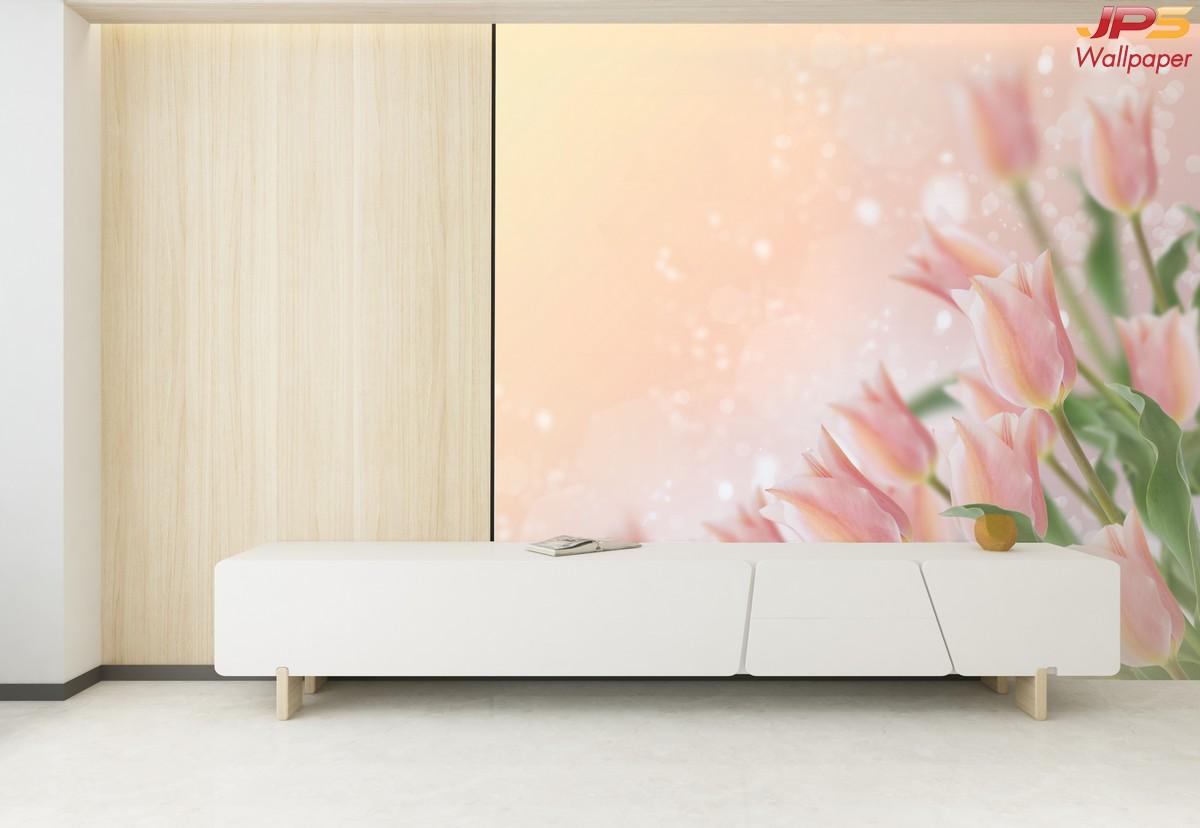 พิมพ์วอลเปเปอร์ ลายดอกกุหลาบสีชมพู