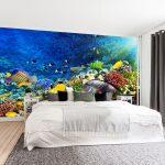 วอลเปเปอร์สั่งทำผ้าซาติน ลายปะการัง ปลาใต้น้ำลึก ตกแต่งห้องนอน