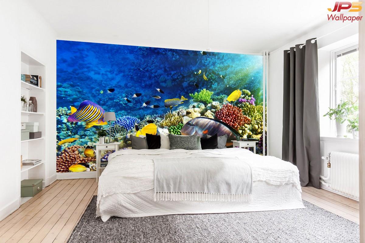 วอลเปเปอร์สั่งทำผ้าซาติน ลายปะการัง ปลาใต้น้ำลึก