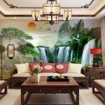 ภาพพิมพ์ฮวงจุ้ย ลายภาพวาดวิวป่าน้ำตก ตกแต่งห้องรับแขก