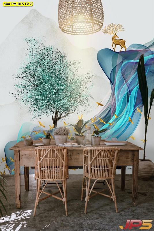 บริการพิมพ์ภาพแคนวาส วอลเปเปอร์ลายภาพวาดกวางสีทองกับฝูงนก