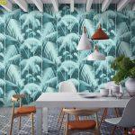 Print Wallpaper ลายสวนป่าเขียวขจี ตกแต่งห้องรับประทานอาหาร