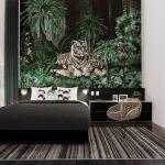 วอลเปเปอร์แบบสั่งพิมพ์ ลายเสือในสวนป่า ตกแต่งห้องนอน