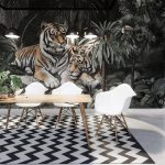 บริการพิมพ์ภาพแคนวาส ลายเสือคู่ในสวนป่าสไตล์ทรอปิคอล ตกแต่งผนังบ้าน